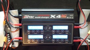 Figure 2: HiTec 4-Port AC/DC Multi-Charger charging four IRIS+ lipos